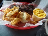 Ribs, Mac and Cheese and Fried Skin, Central BBQ, Memphis, TN